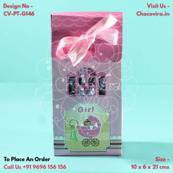 paper folding chocolate boxes for baby girl announcement