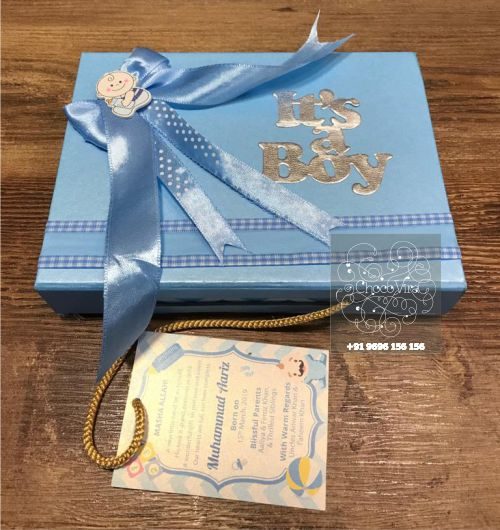 boy birth announcemnts chocolate boxes in india